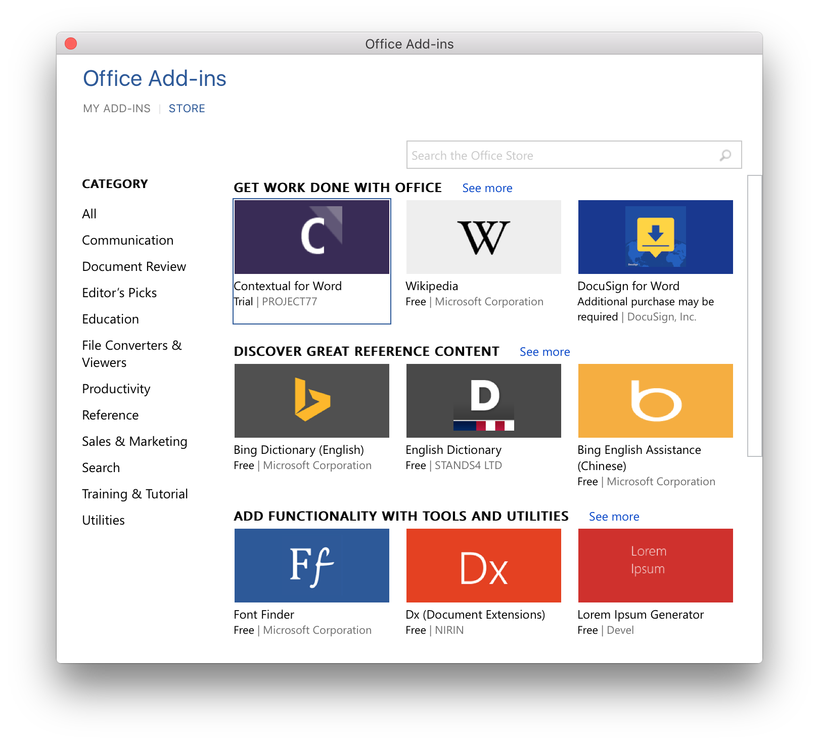 Today's Microsoft Office 2016 update brings add-in store to Mac