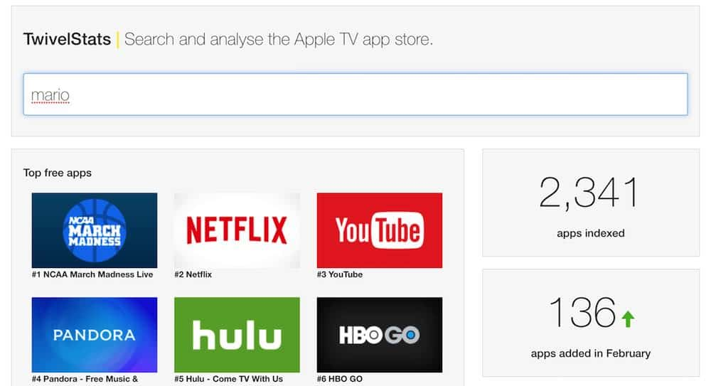 how to search apps on apple tv